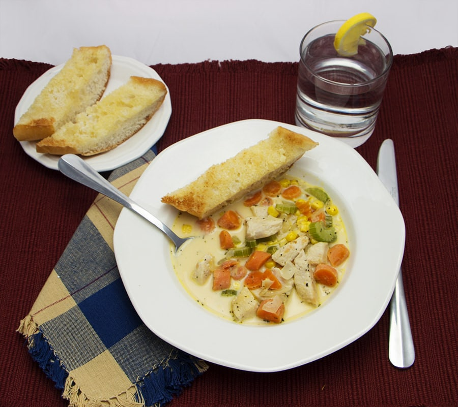 Chicken Corn Chowder Plated