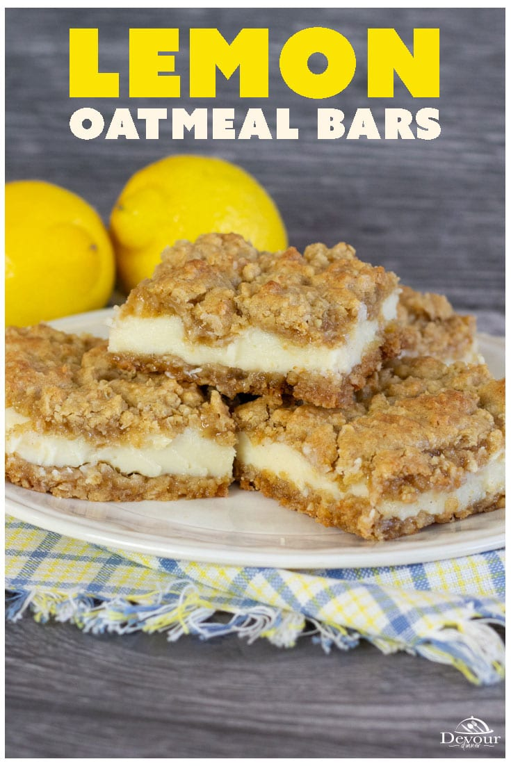 Easy to make Lemon Oatmeal Bars made with Oatmeal Cookie Mix and Sweetened Condensed Milk and Lemon and it's so good! Fun dessert that even the kids and learn to make and mix by hand. #devourdinner #devourpower #lemon #lemonbar #lemonoatmealbars #oatmealcookie #dessert #easydessert #kidapproved #bettycrockerrecipe #bettycrocker