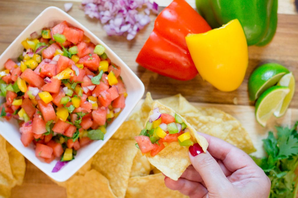 Watermelon Salsa with Tortilla Chips