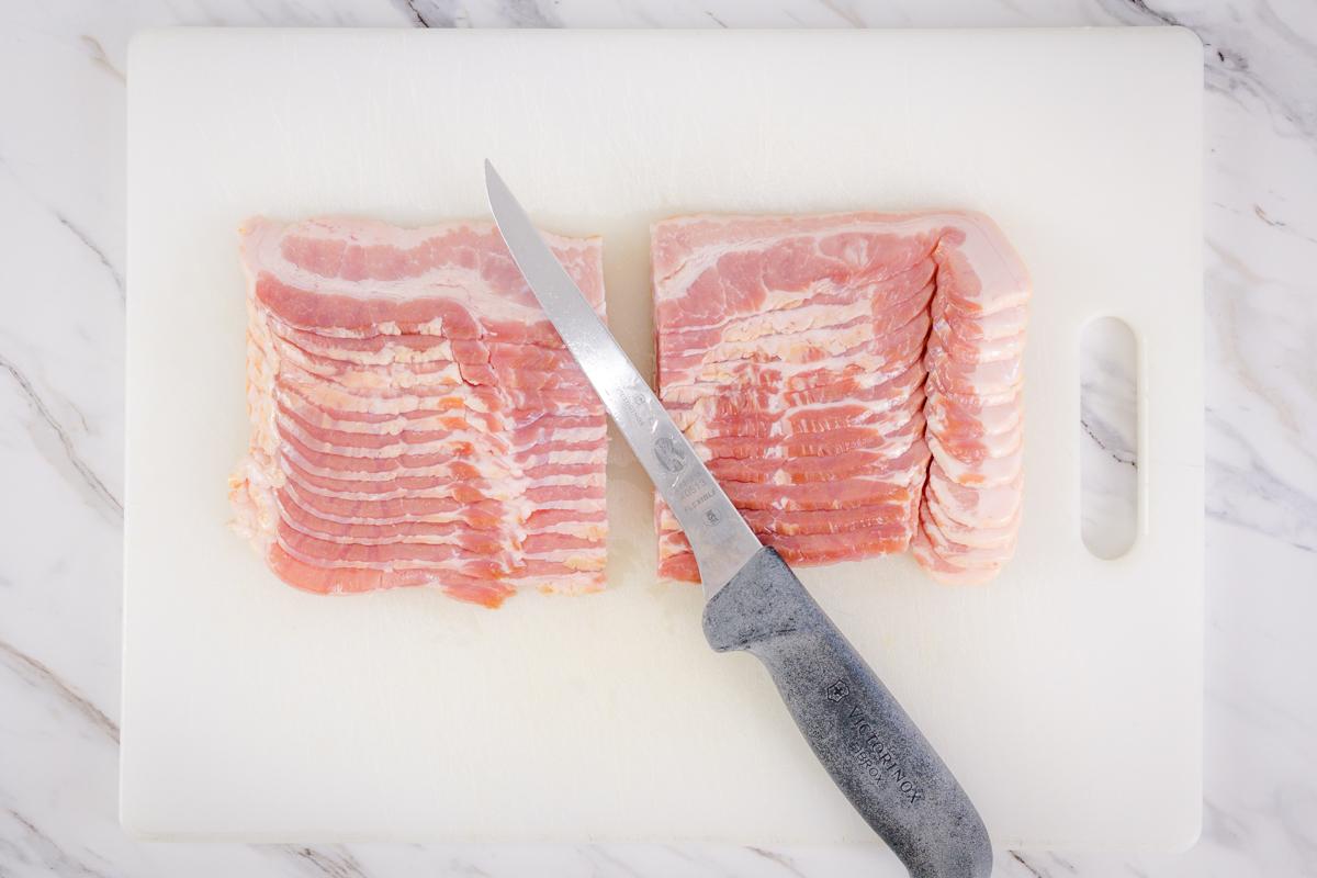 Slice Bacon in half