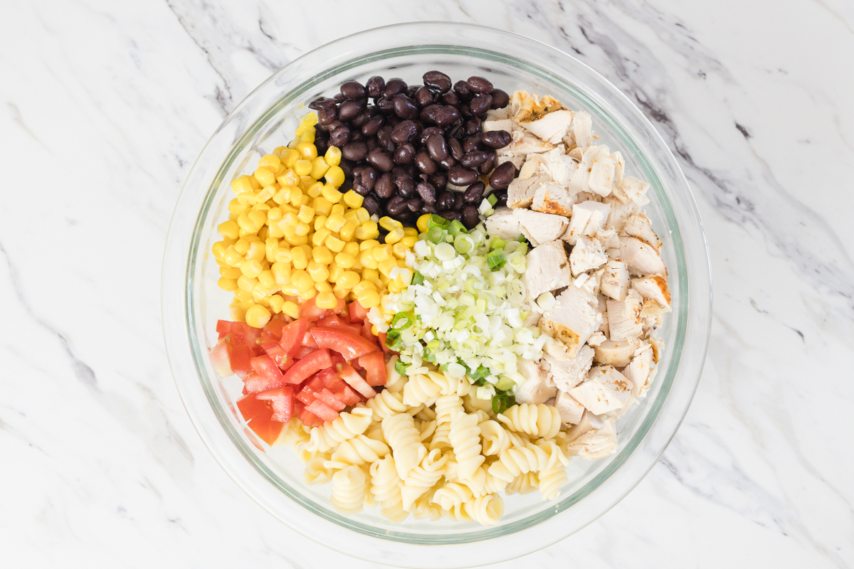 Bowl with Chicken, Beans, Corn, Tomato, Onion and Pasta