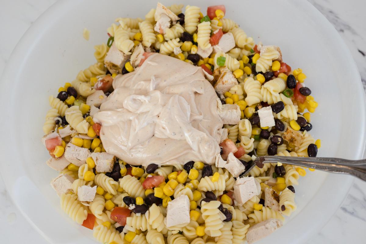 BBQ Ranch Sauce and Chicken Pasta Ingredients