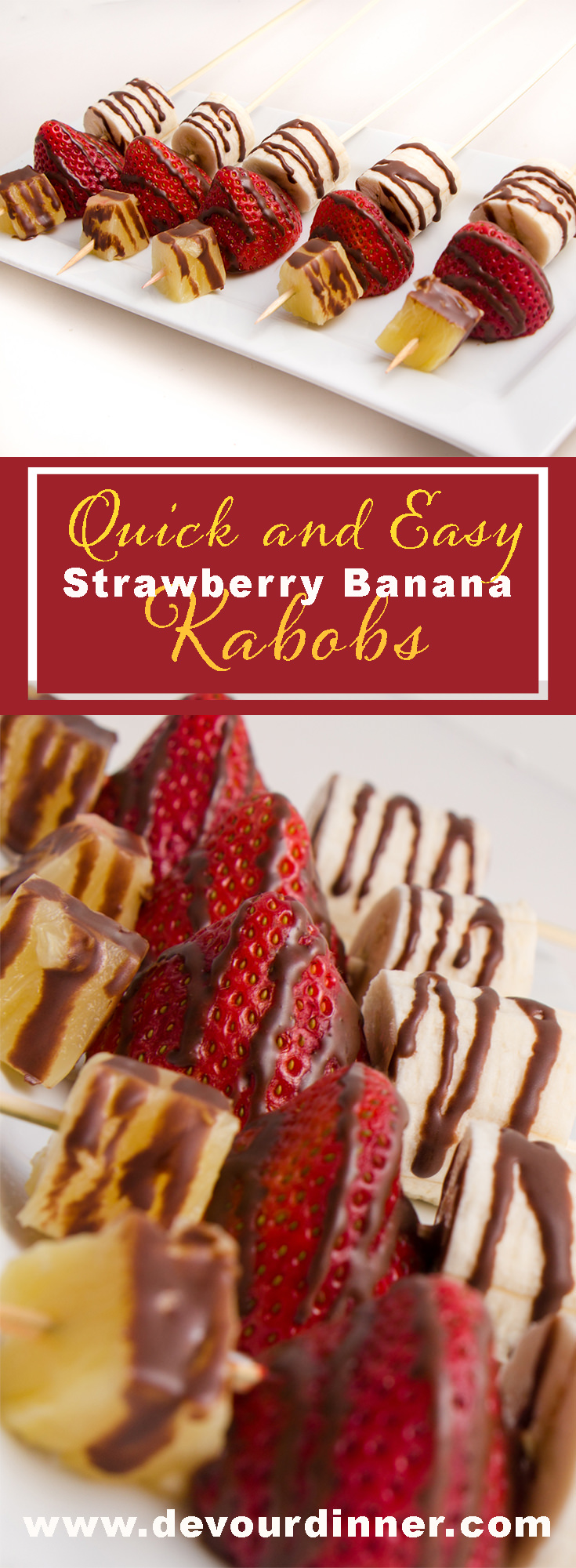Banana Split Kabob - Devour Dinner - Appetizer, Dessert, Side dish. Food on a Stick is Great! #Appetizer #recipe #Dessert #BananaSplit #Delicious #Yummy #Recipe #Recipes #Food #foodie #Devourdinner #Foodblogger #Buzzfeast