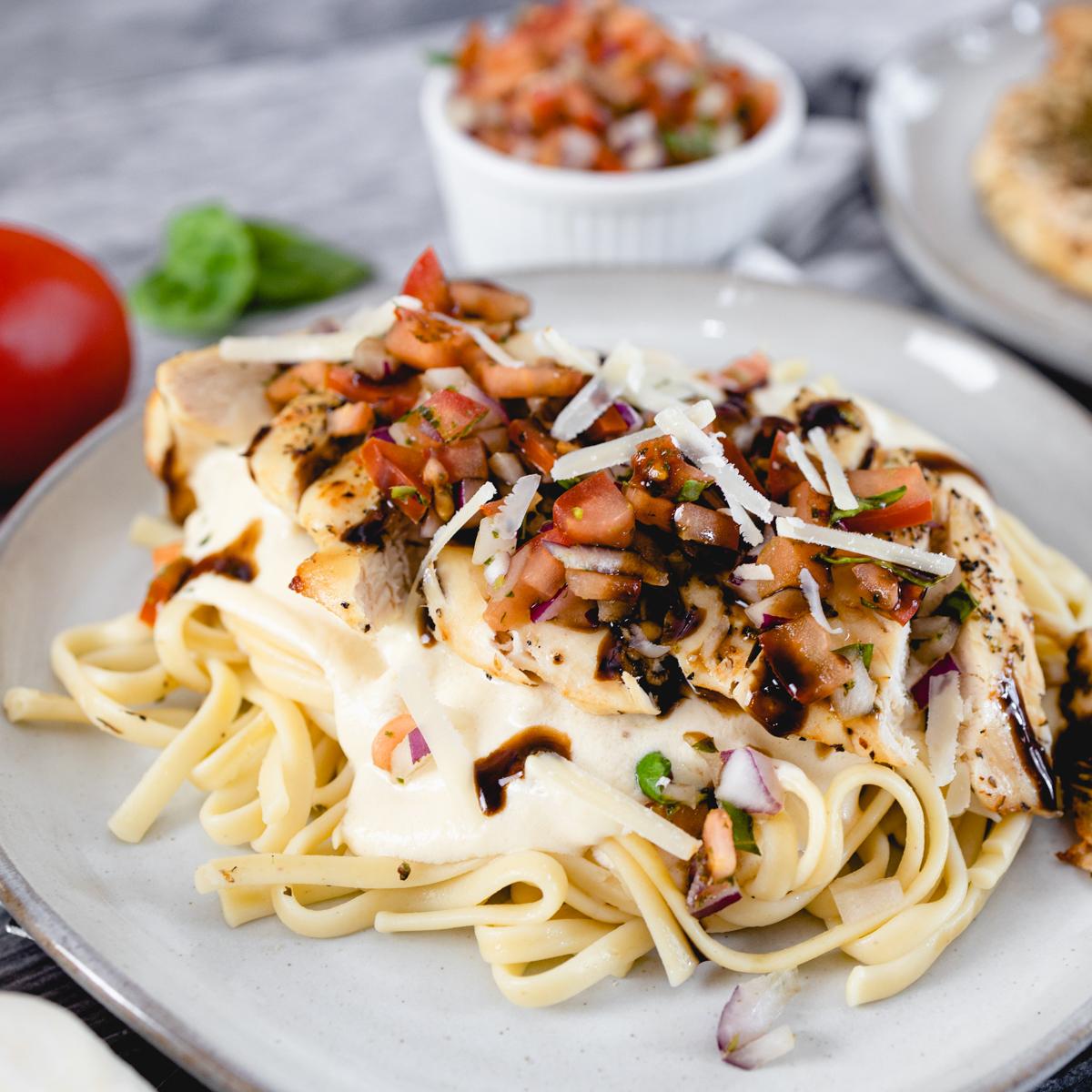 Bruschetta Chicken with Deglaze Balsamic Vinegar