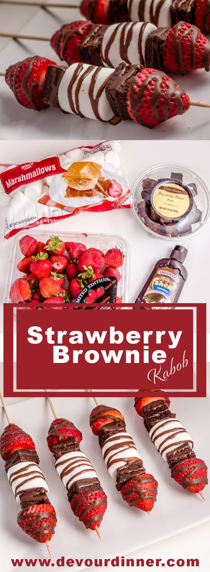 Strawberry Brownie Kabobs - Devour Dinner. So easy, even the kids can make. Fun Valentines Treat. #DevourDinner #Recipe #Recipes #Food #Foodies #Yum #Yummy #Strawberry #Brownie #StrawberryDessert #BrownieRecipe #BrownieDessert #EasyDessert #KabobDessert #Kabob #EasyDessert #EasyRecipe
