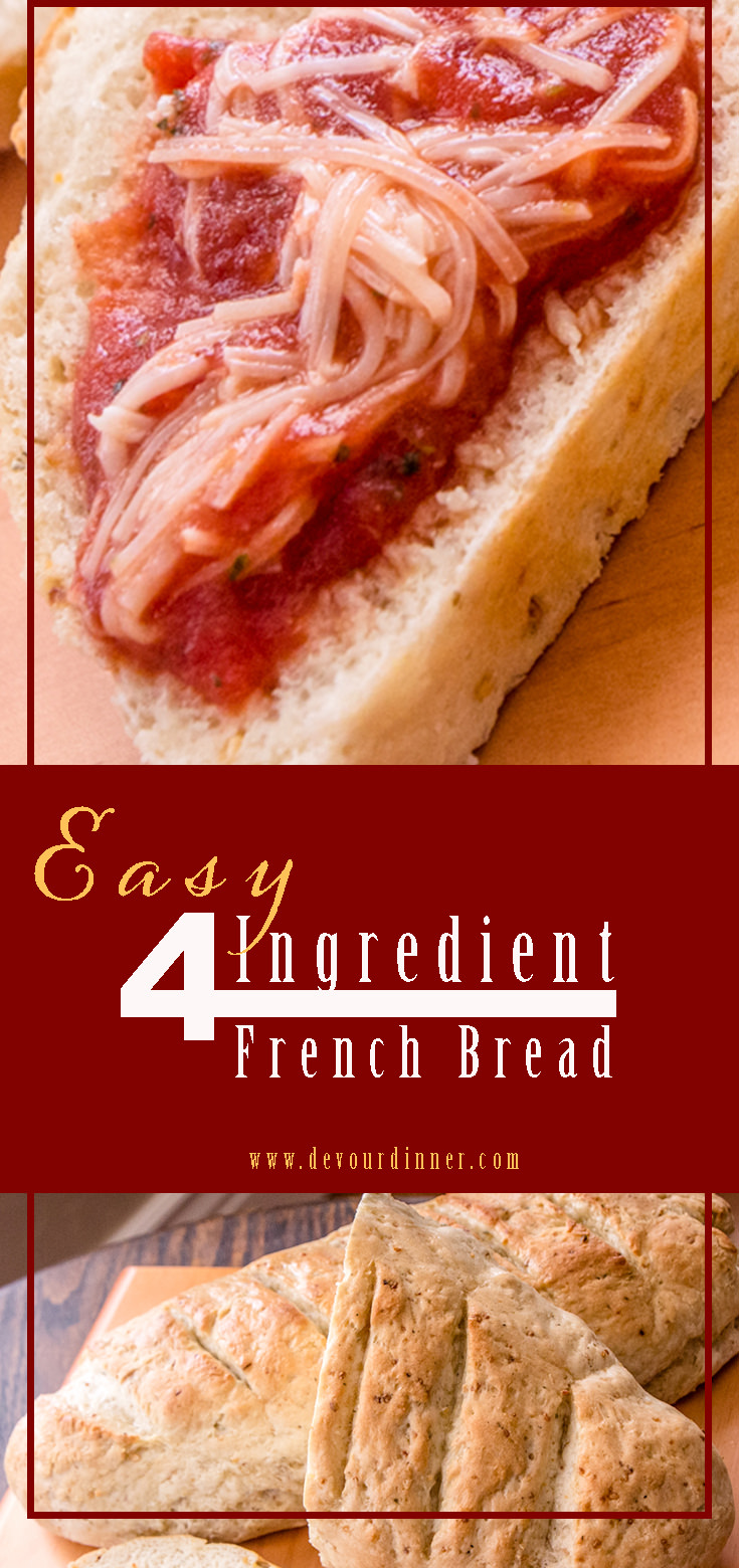 Easy French Bread - Devour Dinner Only 4 Ingredients, easy and delicious. This recipes whips up so quickly I wonder why I don't make it more often. Easy French Bread is really just that easy. #EasyFrenchBread #FrenchBread #bread #recipe #recipes #food #foodie #foodblogger #buzzfeast #video #howto