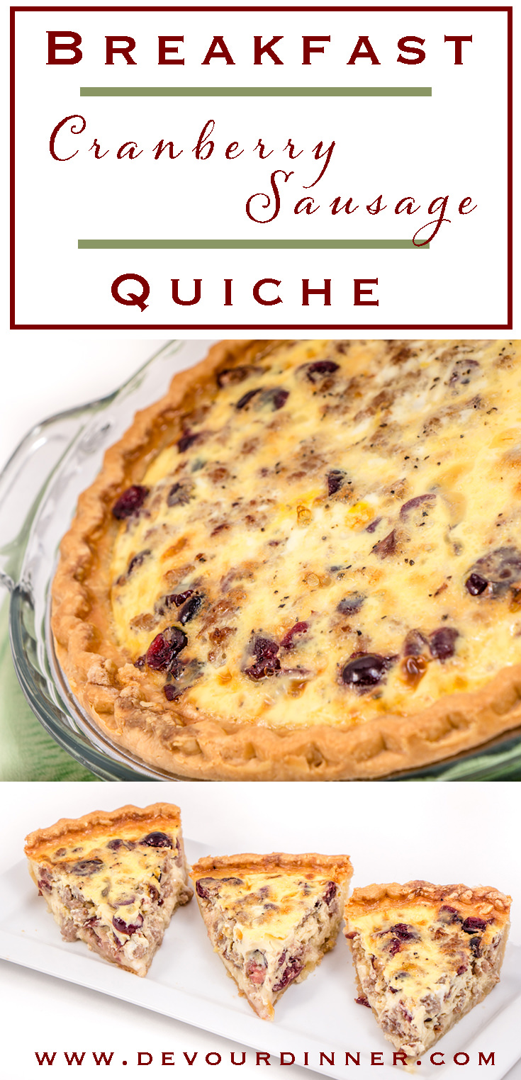 Breakfast Cranberry Sausage Quiche is a perfect blend of flavors for this wonderful quiche. Perfect for special occasions like Mother's day, Christmas, or anytime when you are looking for something delicious. #devourdinner #recipes #recipe #food #Foodie #Foodblogger #easyrecipes #dinner #appetizer #Sidedish #yummy #quiche #sausage #cranberry #mothersday #christmas #breakfast #eggs #buzzfeast