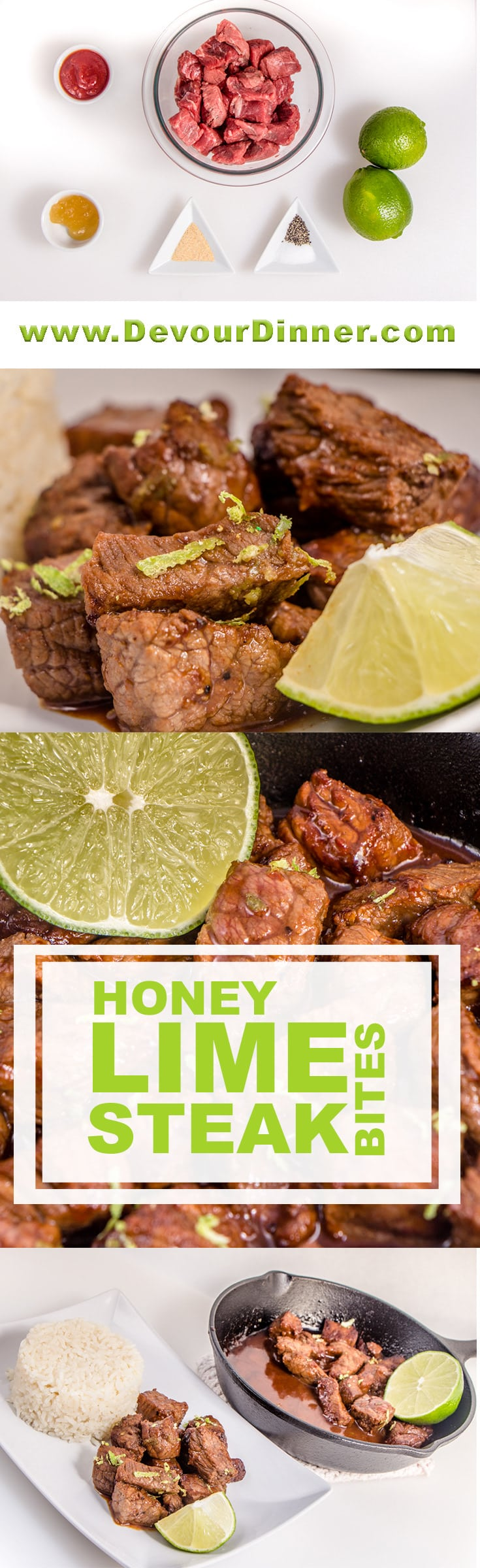 Chili Honey Lime Steak Bites are delicious. With a quick marinade full of fresh ingredients they will turn your ordinary steak into a real treat. Make these for a main course or even an appetizer. Anyway you serve up Chili Honey Lime Steak Bites you will love them. #devourdinner #recipes #Food #Foods #Foodblogger #yummy #easyrecipe #steak #honey #lime #Buzzfeast #Dinner #Appetizer