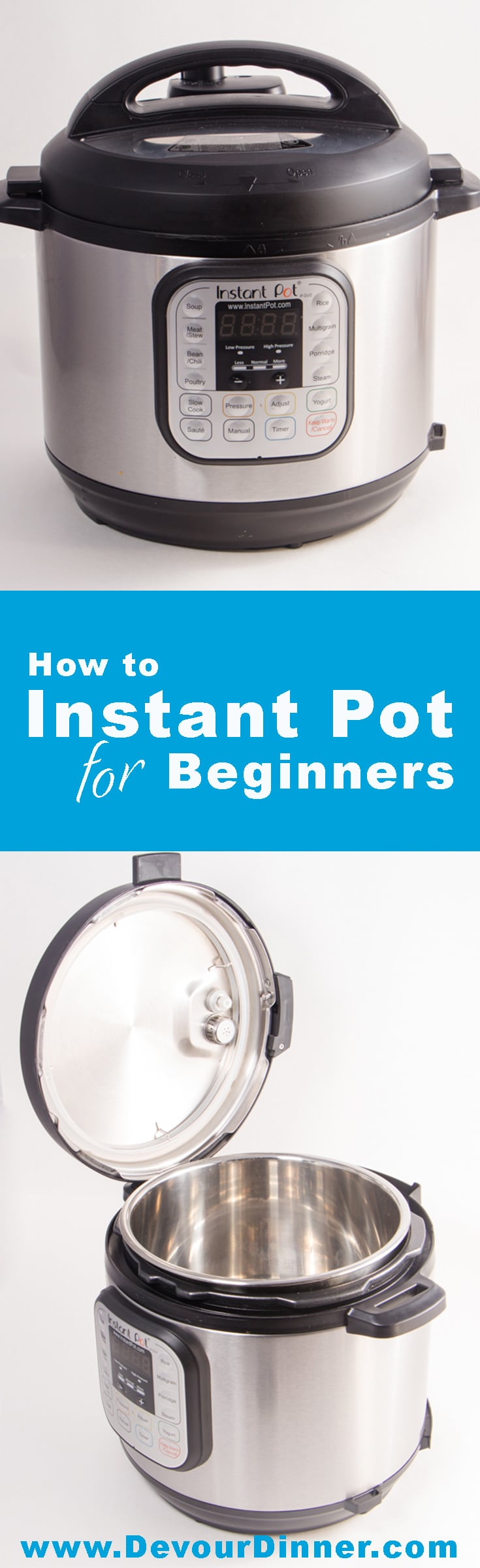 New to Pressure Cooking?  This How to use your Instant Pot will help you through the Water Test, to basic Jargon used in Recipes. Perfect quick tips to get you started with your Pressure Cooker #instantpot #instantpothowto #recipes #pressurecooking #recipe #dinner #food #foodie #devourdinner