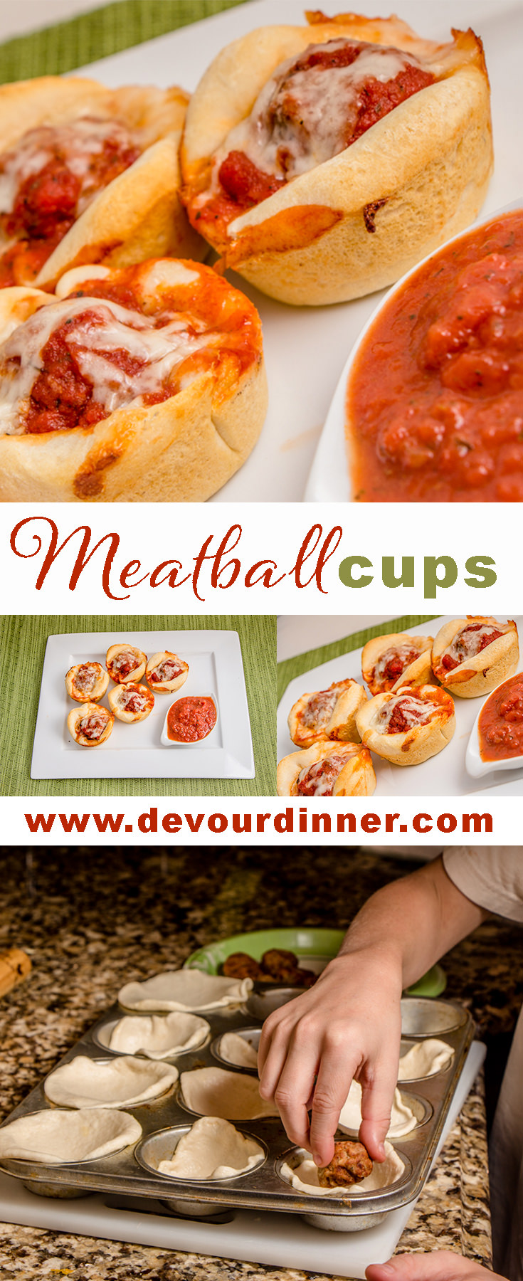 Meatball Cups - Devour Dinner - Quick and easy after school snack or even appetizer. The children can help make. #meatballs #recipe #food #snack #food #easyrecipe
