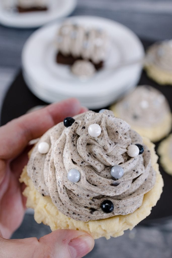 The Grey Stuff served on a soft sugar cookie