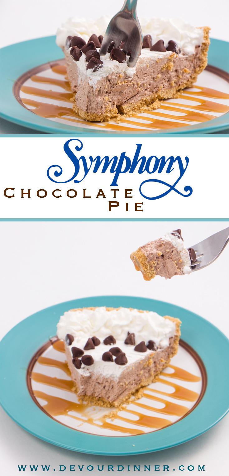 3 Ingredient Symphony Pie Recipe whips up quickly. Chocolate Symphony Pie, no mess, no cooking, freezer pie. #PieDay #Hersheys #SymphonyPie #Dessert #DevourDinner #Piday #NationalPieDay #Coolwhip #chocolate #Yummy #recipes #recipe #food #Foodie #Foodblogger #easyrecipes #buzzfeast #chocolate #easyrecipe #easydessert #freezerpie #pie #pierecipe