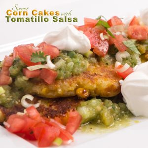 Sweet Corn Cakes Copy Cat Recipe from The Cheesecake Factory with Tomatillo Salsa made fresh #easyrecipe #easyappetizer #copycatrecipe #TCF #thecheesecakefactory #sweetcorncakes #mexican #devourdinner
