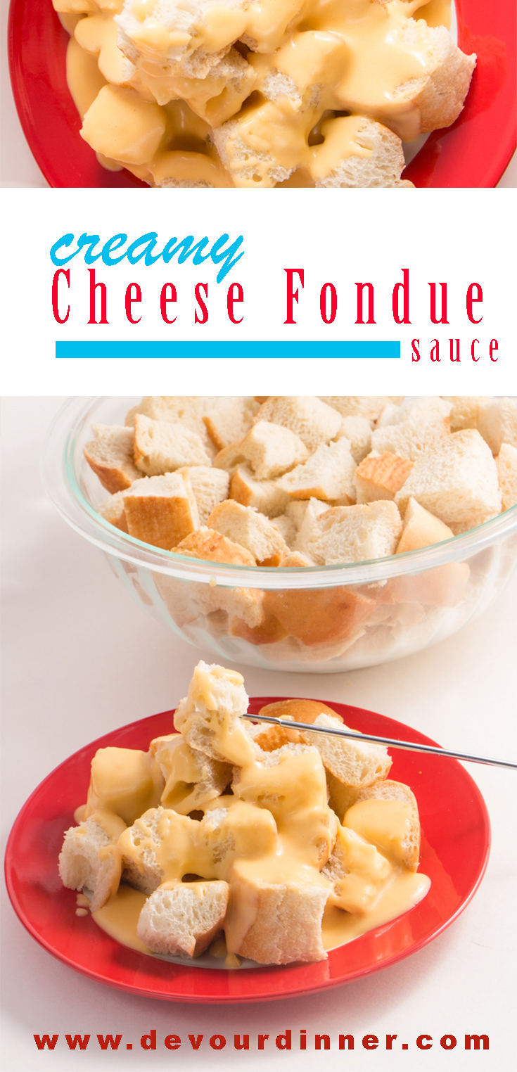 Cheese Fondue - Devour Dinner. Creamy Cheese Sauce Fondue. A Family tradition served year round. We love this cheese sauce over cubed french bread or veggies. It's wonderful for parties, as an appetizer, a special dinner, or an afternoon snack. #devourdinner #Appetizer #dinner #Party #Snack #Cheese #cheesesauce #Fondue #CreamyCheeseSauce #Cheesesauce #Frenchbread #VeggieCheeseDip #hotdip #Hotcheesedip #Food #Foods #foodblogger #Recipe #recipes #Yummy via @devourdinner