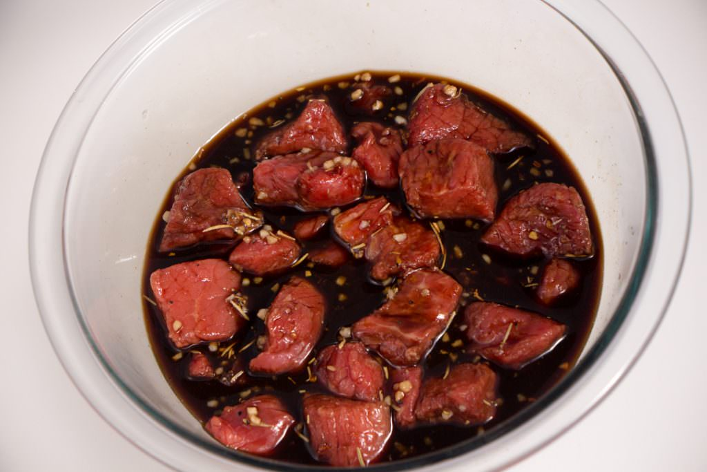 Honey Balsamic Steak Bites in marinade