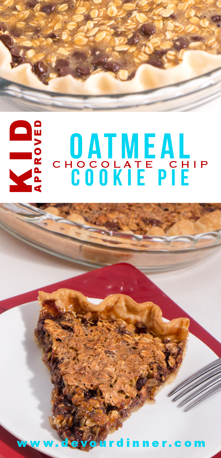 Oatmeal Chocolate Chip Cookie Pie - Devour Dinner. Quick and easy pie. This crowd pleaser is my go to favorite. In minutes I can throw this together and there is never any leftovers. Oatmeal Chocolate Chip Cookie Pie is comfort food you didn't know you were missing. #devourdinner #Piday #Pieday #Chocolatechip #Chocolatechippie #food #Foodie #Recipe #recipes #Desserts #CookiePie #March14 #NationalPieDay #NationalPiDay #easyrecipe #Yummy #Yum