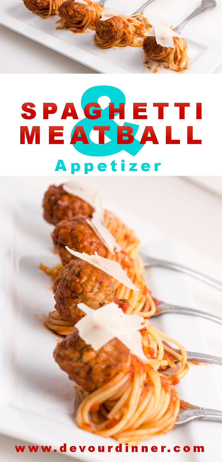 Spaghetti & Meatball Appetizer | Devour Dinner. A fun twist on a traditional favorite. Bite sized offerings plated beautifully. You and your guest will smile with the traditional favorite recipe. #Food #foodie #Recipe #recipes #BaconDippers #Bacon #PancakeDippers #BaconPancakeDipper #DevourDinner #Spaghetti #meatball #meatballs #Appetizer #bitesize #buzzfeast #Yummy #delicious