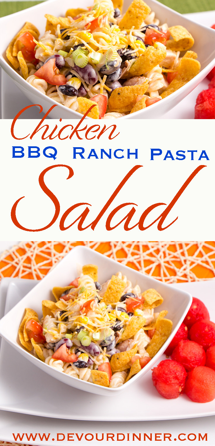 BBQ Ranch Pasta Salad - Devour Dinner. Delicious Chicken BBQ Pasta Ranch Salad. Perfect for Spring, Summer, Fall or anytime of year. Packed full of flavor. Mouthwatering Recipe. Take to a Pot Luck and watch it be devoured. #Recipe #PastaSalad #BBQRanch #ChickenBBQRanchSalad #Recipe #EasyRecipe #Ranch #chicken #SideDish #Dinner #DinnerRecipe #Whatsfordinner