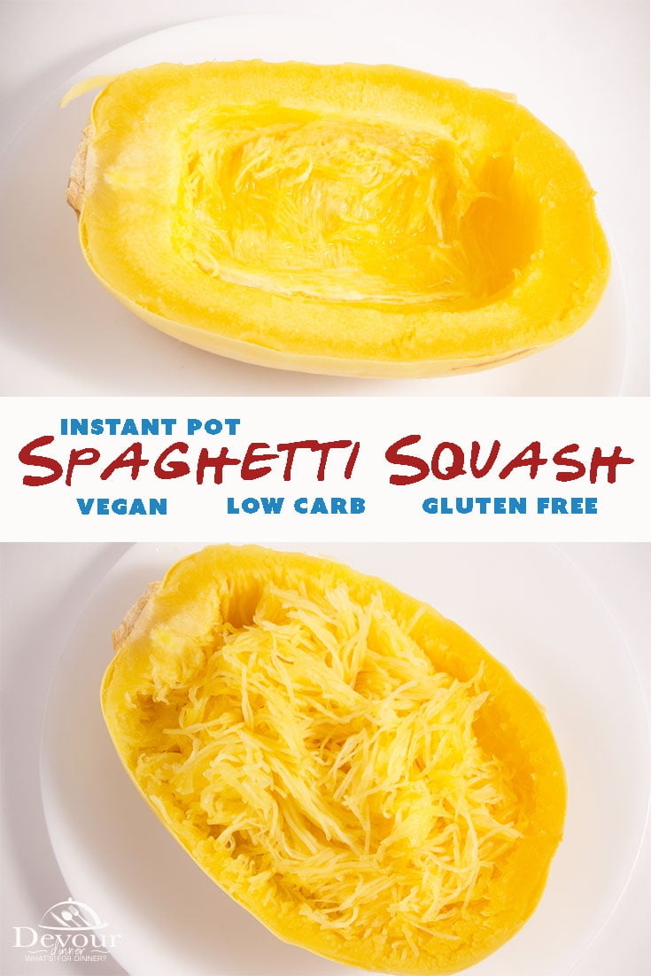 Pierce Spaghetti Squash with knife and place on trivet in Instant Pot with a cup of water. Pressure cook for 10 minutes for perfectly cooked. Instant Pot Spaghetti Squash is the vegetable you never knew you needed in your life. This light and fluffy squash is not only delicious, it's the perfect substitute for noodles. #devourdinner #devourpower #squash #instantpotspaghettisquash #familyrecipe #instantpotrecipes #recipes #yum #YummyInMyTummy #onmyplate #foodtime #huffposttaste