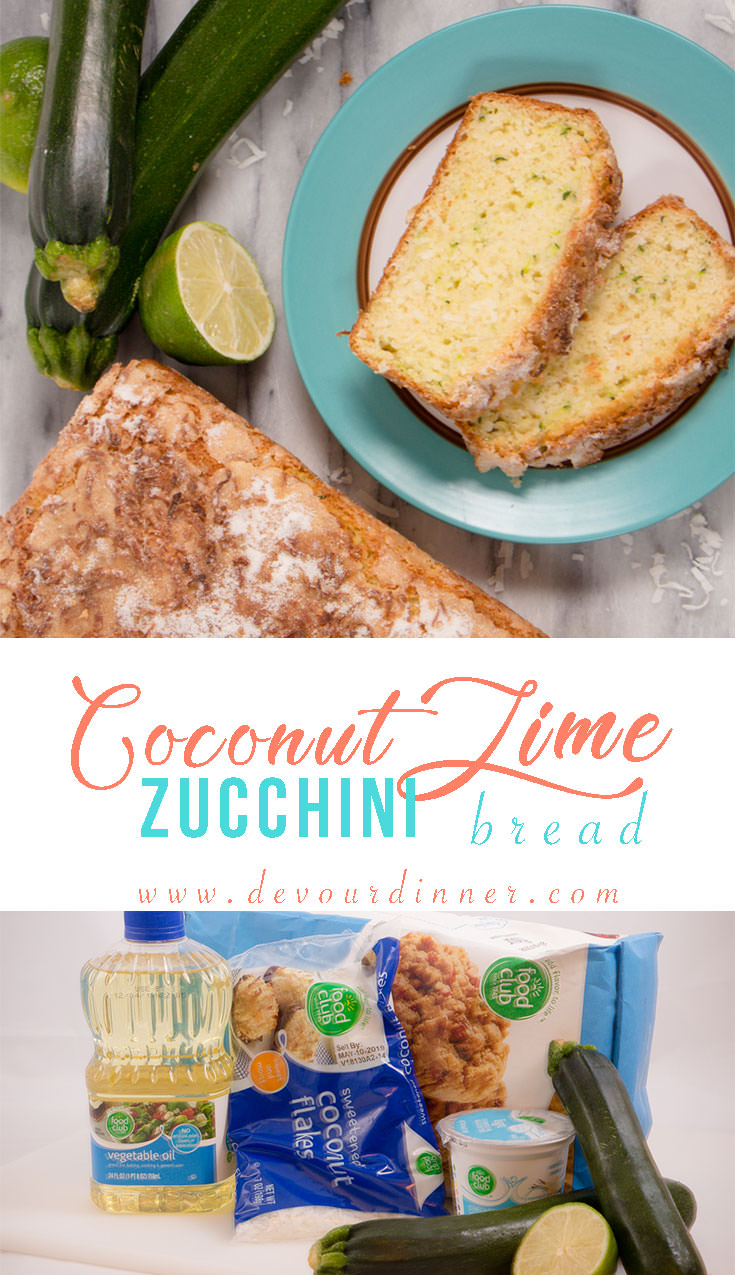 Neighborhood FAVORITE! Zucchini Coconut Lime Bread is a light and delicious. Great Summer Quick Bread recipe. #Recipeoftheday #foodrecipes #DevourDinner #bake #Dinner #Easyrecipe #madefresh #Instagood #yummy #foodgasm #dessert #food #recipes #foodlover #buzzfeast #associatedfoods #bread #zucchinibread #quickbread #sponsored #FoodClub #Savings #DoubleYourMoneyBack #QualityandValue #BeAFoodClubSavvyShopper