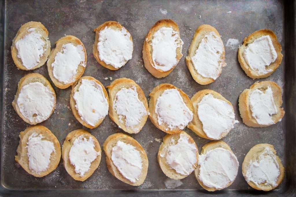 Baguette Slices with Cream Cheese Bruschetta