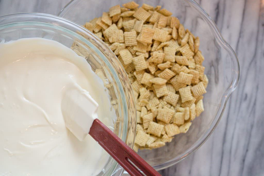 Chex Mix and melted white Chocolate