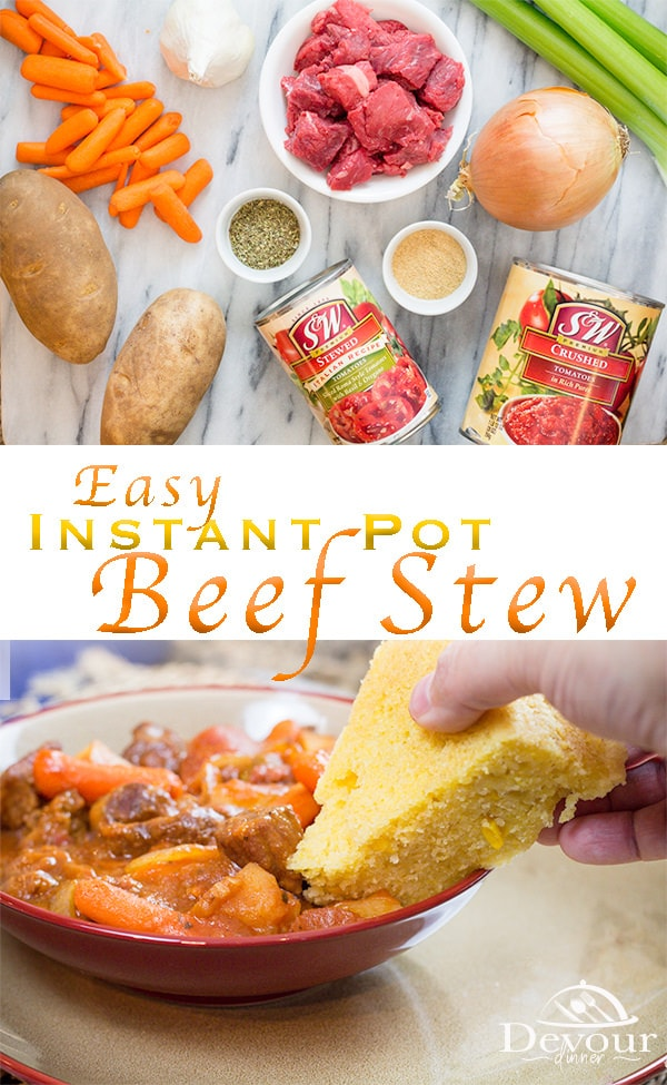 Easy Beef Stew Recipe for dinner made in the instant pot, crock pot, or slow cooker