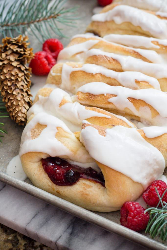 Sweet Bread with Berries and Cream Cheese. A Sweet Pastry Dessert
