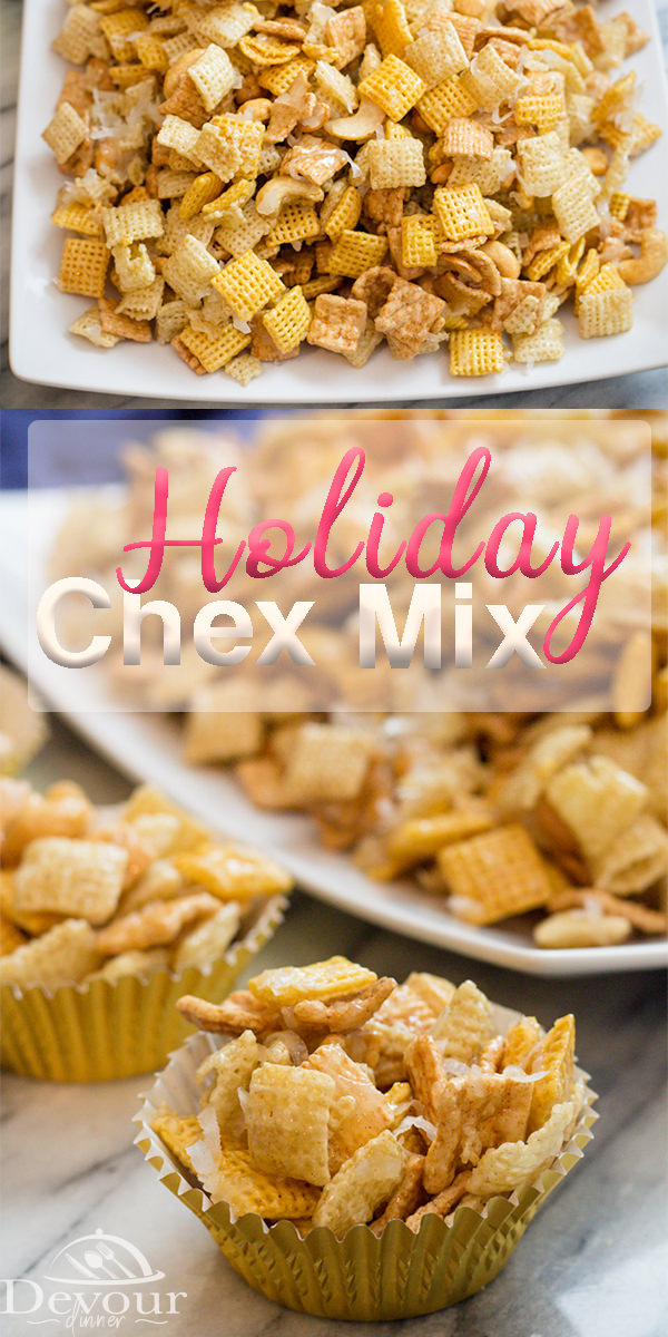 Chex Mix Recipes are amazing, Holiday Chex Mix is sweet, salty, Ooey Gooey Goodness! It's addicting for sure. With Chex Cereal, Cinnamon Toast Crunch, Cashews, and Coconut this Chex Mix Recipe is everything you want from a Chex Snack Mix. #ChexMixRecipes #ChexMix #originalChexMix #ChexMixRecipe #devourdinner #DessertRecipe #easydessert #easysnackrecipe #snackrecipe #ChexSnackmix #EasyPrep #HolidayChexmix #ooeygooeyChexMix #christmasChexMix #Recipe #recipes #food #foodie #Yum #chexpartymix