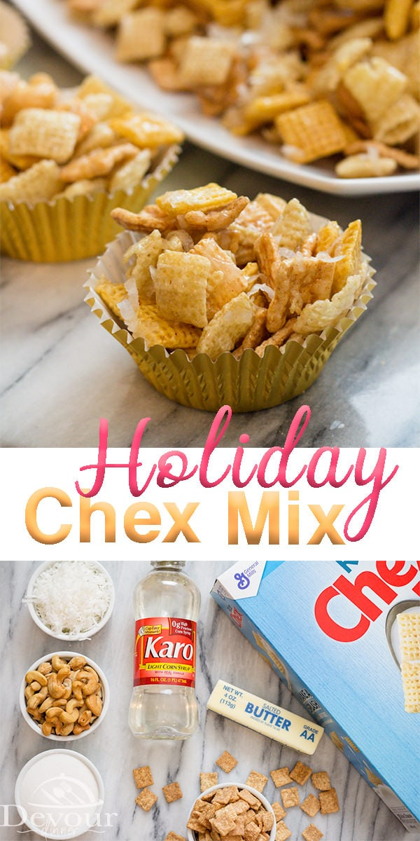 Chex Mix Recipes are amazing, Holiday Chex Mix is sweet, salty, Ooey Gooey Goodness! It's addicting for sure. With Chex Cereal, Cinnamon Toast Crunch, Cashews, and Coconut this Chex Mix Recipe is everything you want from a Chex Snack Mix.