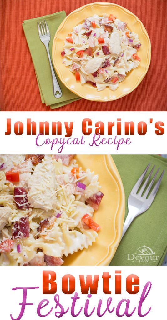 This Signature Dish from Johnny Carino's called Bowtie Festival is my favorite. I love the combination of flavors from Bacon, to Tomato and a creamy Alfredo sauce. Instant Pot recipe makes this an easy 30 minute meal. #chickencarbonara #Chickenpasta #alfredopasta #Chickenalfredo #easychickendinner #easydinner #easyrecipe #instantpot #instantpotrecipe #easyprep #inmykitchen #recipe #recipes #food #Foodie #foodblogger #dinner #pasta #sidedish #bacon #chickenbaconpasta #italianpasta #easyitalian