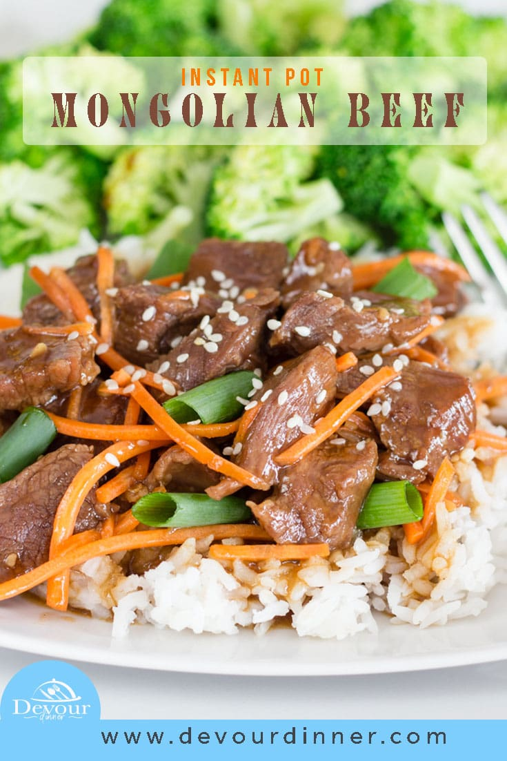 Mongolian Beef is Spicy and savory with tender cuts of beef in a rich brown gravy sauce. Easy Instant Pot Recipe made in minutes. Better than Take Out, stay in and say a few bucks too. #devourdinner #recipe #recipes #MongolianBeef #MongolianBeefrecipe #Instantpot #instantPotrecipe #Easydinner #easydinnerrecipe #Beef #beefrecipe #Chinese #chinesetakeout #easyprep #prepeasy #Rice #kidapproved #30minutemeal #Instagood #yum #Whatsfordinner #chinesefood #chinesetakeout