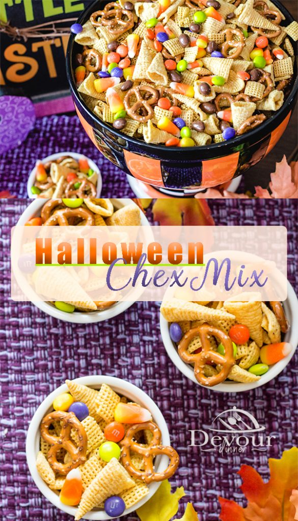 Chex Mix Recipes are a fun and easy Snack Mix for any occasion. Halloween Chex Mix is quickly made in a few ingredients but is sure to bring smiles to your ghosts or goblins. With Witches Hat, Skeleton Scabs, Goblin Teeth, Bat Wings and more, you will make memories with this fun snack treat. #chexmix #Chexpartymix #homemadechexmix #HalloweenChexmix #chexmix #chexmixrecipes #chexmixrecipes #Chocolate #dessert #snack #recipe #M&Ms #brachscandy #Halloweenpartyrecipe #Witcheshats #GoblinTeeth