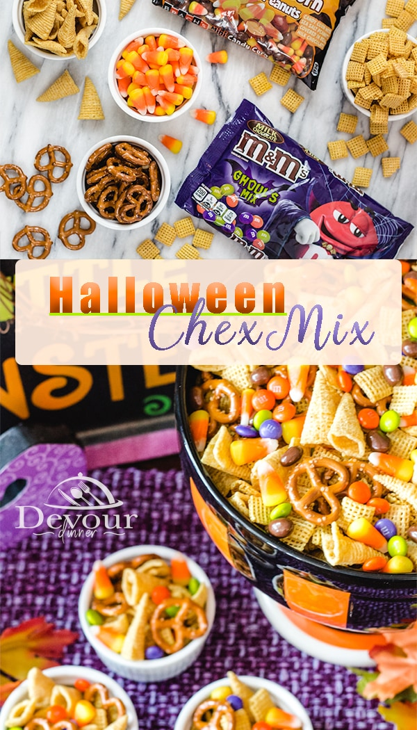 Chex Mix Recipes are a fun and easy Snack Mix for any occasion. Halloween Chex Mix is quickly made in a few ingredients but is sure to bring smiles to your ghosts or goblins. With Witches Hat, Skeleton Scabs, Goblin Teeth, Bat Wings and more, you will make memories with this fun snack treat.