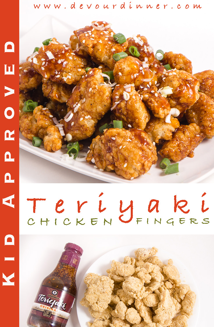 Teriyaki Chicken Tenders | Devour Dinner. Sticky Chicken Tenders with Teriyaki Sauce will be devoured by big and little hands. Quick easy snack, appetizer or meal. Perfect in so many ways. #kikkomankids #sponsored #devourdinner #recipes #recipe #food #Foodie #Foodblogger #easyrecipes #dinner #appetizer #Sidedish # #yummy #Dinner #teriyaki #SoySauce #KikkomanUSA #Chicken #ChickenFingers #Chickeytenders #Stickyfingers #ChickenTeriyakiFingers