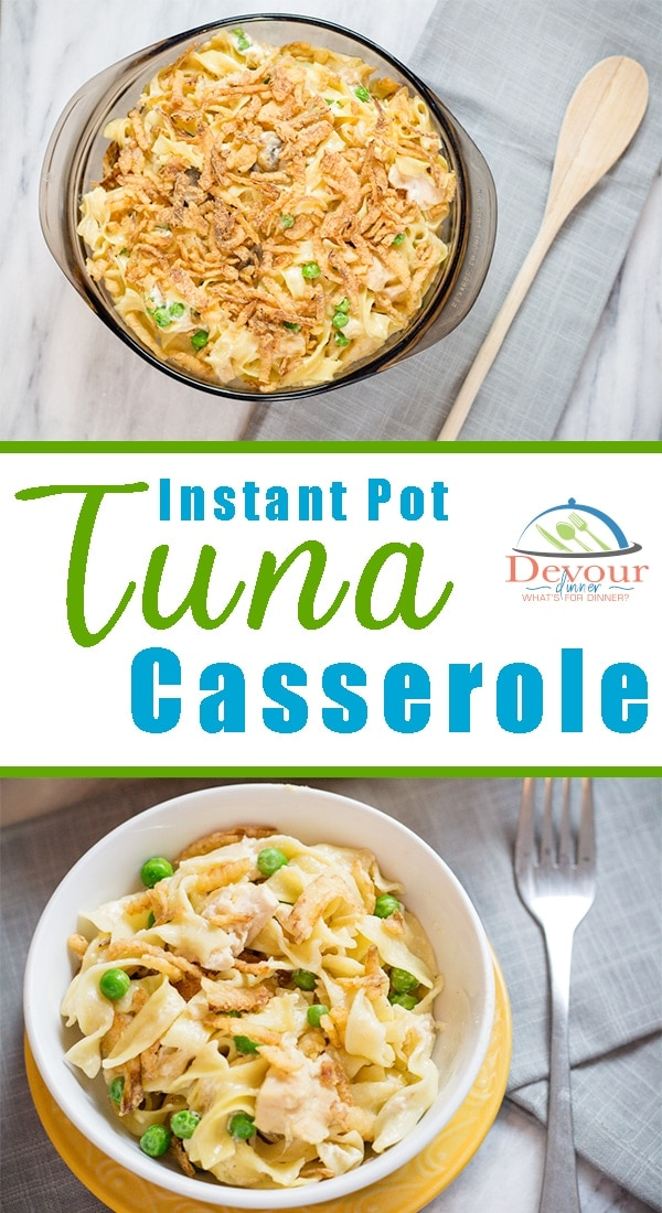 This popular classic recipe, Tuna Noodle Casserole is still a family favorite. Now make this creamy Tuna Casserole in the Instant Pot in minutes. Made from Scratch sauce, it's easier than opening a can and tastes so much better. Even my picky eater loved this favorite recipe. #instantpot #instagood #instantpotrecipe #dinnerrecipe #easyrecipe #easydinnerrecipe #tunacasserole #tunanoodlecasserole #casserole #noodlecasserole #easyrecipe #tuna #recipe #devourdinner