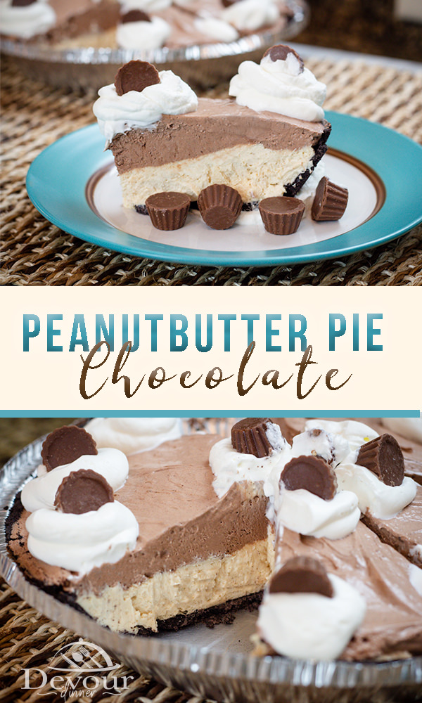 Peanut Butter Chocolate No Bake Cheesecake Pie is amazing. If you love Peanut Butter and chocolate you will devour this pie. Easy Dessert Recipe from Devour Dinner. Can be frozen and saved for later! #Pie #Thanksgiving Pie #Easy Pie #Peanutbutterpie #ChocolatePie #Devourdinner #Recipe #DessertRecipe #easyrecipe #Prepeasy #inmykitchen #foodie #foodgasm #nobakepie #freezerpie #Dinner #Dinnerrecipe #howto #tastyVideo #tutorial #piday #recipeoftheday #foodiefriday #devourpower #pierecipe