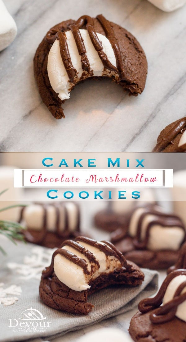 Chewy Chocolate Cake Mix Cookies with Marshmallows and chocolate ganache are a fun Holiday Cookie to cookie exchanges and more. Quick and easy Cake Mix Cookie recipe with 3 ingredients are among my favorite quick hack. #cakemixcookie #chocolatecookie #marshmallowcookie #Cookiepie #woopiepiecookie #chocolateganache #holidaycookie #christmascookie #christmascakemixcookie #easyrecipe #3ingredientrecipe #dessert #dessertrecipe #easydessert #cookierecipe #recipe #recipes #devourdinner #instagood via @devourdinner