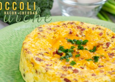 Easy Broccoli Bacon Cheddar Quiche Recipe