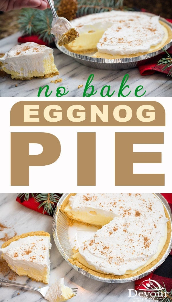 No Bake Eggnog Pie for the Holidays. Make sure to throw one in the freezer to enjoy later! Quick and easy 4 ingredient recipe. I've taken this recipe to a work Pot Luck and it was the first thing eaten up. If you love Eggnog, you will love this Eggnog Pie. #eggnog #eggnogPie #holidayeggnog #4ingredientrecipe #nobake #nobakepie #pieday #freezerpie #prepahead #pudding #puddingpie #easydessert #easyrecipe #easypierecipe #easyrecipe #recipes #recipe #inthekitchen #feedfeed #instagood #yummy via @devourdinner
