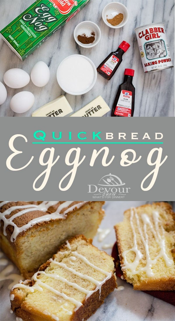 Perfect Holiday Sweet Bread Recipe, Eggnog Quick Bread with Eggnog Glaze is delicious. We love to deliver to friends and co-workers for the Holidays and always save a loaf for ourselves. #eggnog #eggnogbread #eggnogquickbread #quickbread #quickbreadrecipe #easyQuickbread #sweetbread #holidaybread #christmasbread #devourDinner #breadrecipe #easyrecipe #yum #inmykitchen #instagood #recipe #recipes #food #Foodie #feedfeed #Neighborgifts #christmasneighborgifts #neighborgift #yummy via @devourdinner