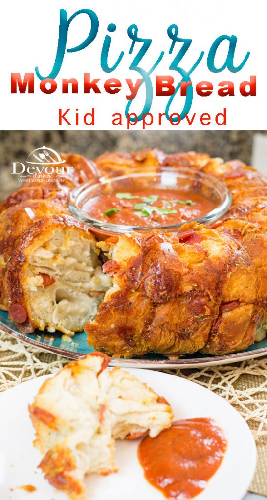 Monkey Bread Recipe with Pizza Ingredients makes this Pull Apart Recipe a winner. Pizza Monkey Bread is kid approved and yummy #pizza #Monkeybreadrecipe #monkeybread #pullapart #pullapartbread #Bubblebread #Dessert #PizzaPullapart #pizzamonkeybread #devourdinner #easydinner #easydinnerrecipe