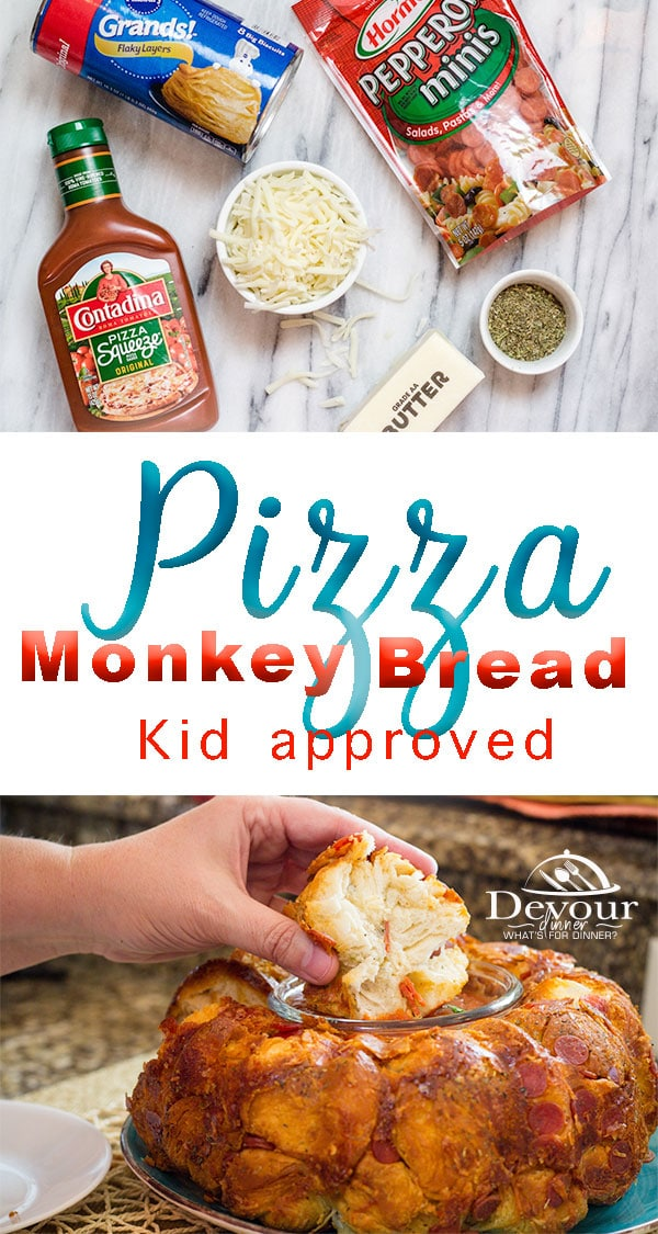 Little Hands and Big Hands love Monkey Bread. Try this Monkey Bread Pizza with your favorite Pizza toppings for Lunch, Dinner or just a fun snack. Easy to make, kid approved recipe. #monkeybread #Monkeybreadrecipe #bubblebread #bubblebreadrecipe #pullaparts #pullapartrecipe #Pizzamonkeybread #pizza #easydinnerrecipe #easydinner #easylunch #easylunchrecipe #food #foodie #recipe #recipes #instagood #grandsbiscuits #hormelpepperoni #Pizzasauce #devourdinner #snackrecipe #kidapproved #inmytummy