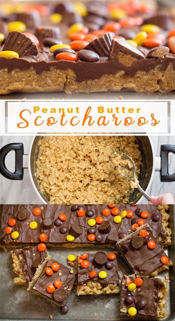 Scotcharoos dessert made with peanut butter and rice cereal. #scotcharoos