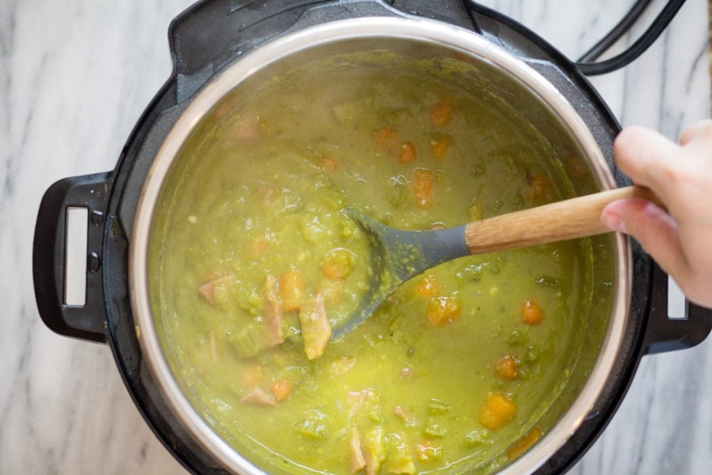 Split Pea Soup Recipe. Thick soup with chunks of carrot, celery, and ham