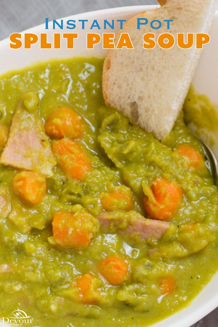 Grandma isn't the only one who loves Instant Pot Split Pea Soup, a thick rich soup recipe made with leftover ham and split peas. Easy to follow recipe with a few simple ingredients. Freezes perfectly too for a great lunch later. #devourpower #instantpotsplitpeasoup #splitpeasoup #splitpeasouprecipe #Ham #InstantPot #instantpotrecipe #pressurecooker #pressurecookerrecipe #soup #appetizer #appetizerrecipe #entree #entreerecipe #easydinner #easydinnerrecipe #easysoup #leftoverham #devourdinner