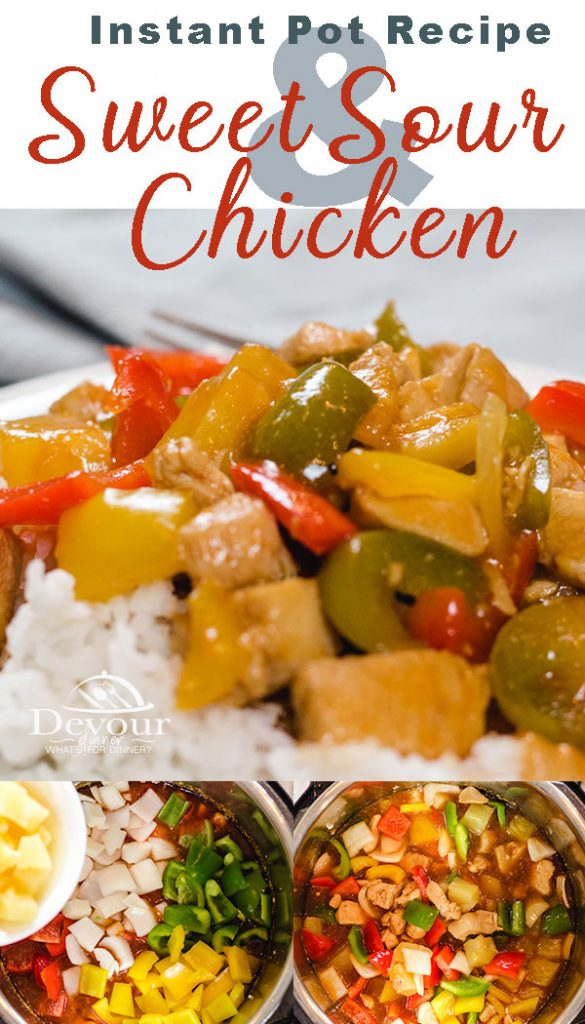 Sweet and Sour Chicken made easily in the Instant Pot. So much better than take out. Stay in and make it fresh. Make in under 30 minutes complete time. #Sweetandsour #sweetandsourrecipe #sweetandsourchicken #sweetandsourchickenrecipe #easydinner #dinnerrecipe #instantpot #instantpotrecipe #devourdinner #chinesetakeout