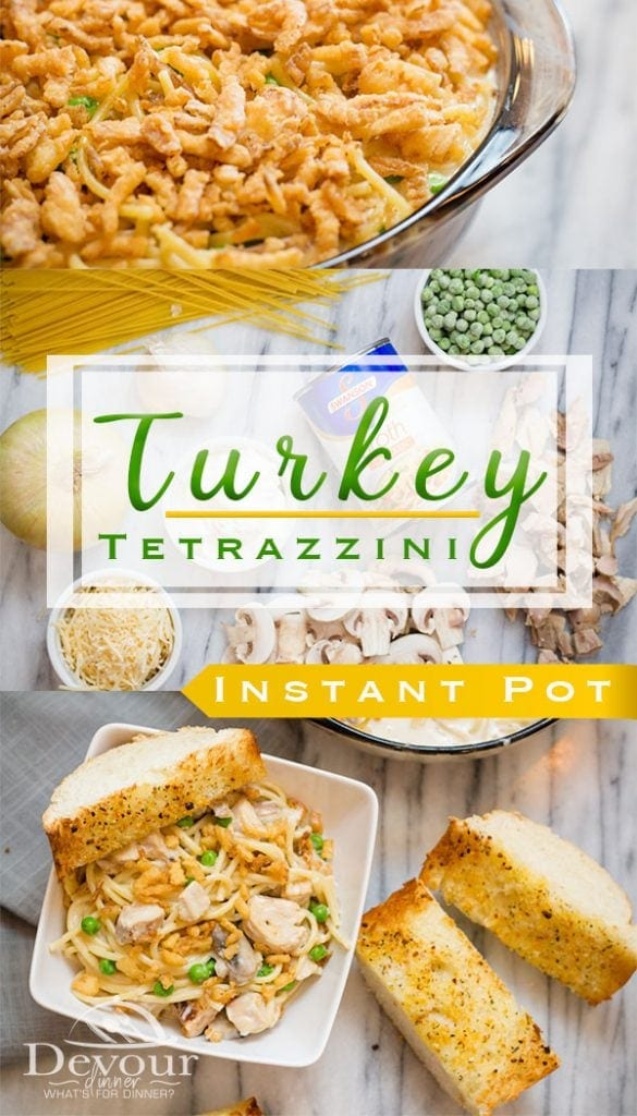 Turkey Tetrazzini made with leftover Turkey, pasta, mushrooms and a creamy sauce