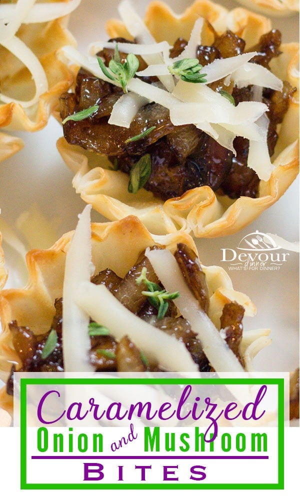 Caramelized Mushroom Onion Bites in Phyllo Shells are a perfect quick appetizer that your guests will think you spent hours on. Small Bite food for any gathering, party or social event. Don't forget #NYE and celebrate. Don't go to a party empty handed. You can make these fun appetizers in minutes. #devourdinner #easyrecipe #easyappetizer #instagood #feedfeed #appetizerrecipe #smallbite #partyfood #caramelizedMushroom #onionbites #onebiteappetizer #Phylloshells #phylloshell #phyllo #Balsamic via @devourdinner