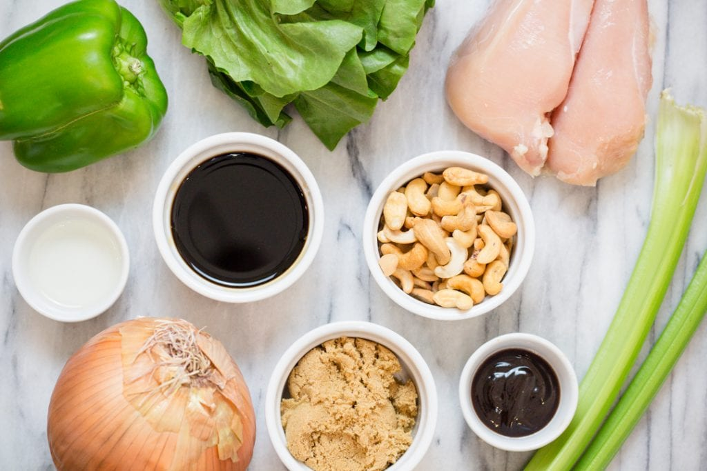 Cashew Chicken lettuce Wrap Recipe ingredients